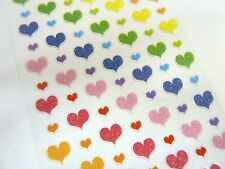 Small Coloured Heart Stickers Kids Labels for Craft Decoration Card-Making PVC13