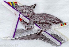 CATS DAY AT THE BEACH SUNNING SET OF 2 BATH HAND TOWELS EMBROIDERED BY LAURA