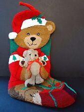 Lillian Vernon Needlepoint Christmas Stocking ~ Teddy Bear ~ Present Holly ~ New