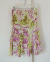 womens multi color BOB MACKIE skirt floral 100% silk knee length stretch L 12