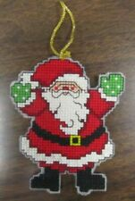 Handmade Counted Cross Stitch Christmas Ornament Santa #3