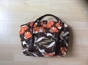 Billy Bag Brown & Orange Floral Pattern Canvas Handbag