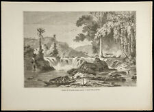 1860 - Cataract of Weinachts, Guyana British - Engraving on Wood