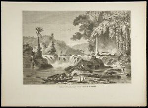1860 - Cataract Of Weinachts, Guyana British - Engraving On Wood