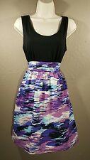 Mossimo Girls L Blue Purple Black White Skirted Dress Sleeveless Pocket Tie Back