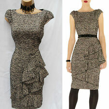 Karen Millen Drape Wool Tweed Work Evening Business Occasion Pencil Dress 16 UK
