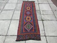 Kilim Vintage Traditional Hand Made Oriental Red Long Kilim Runner 210x70cm
