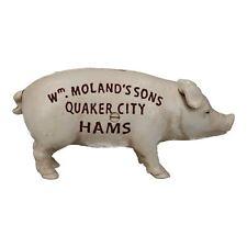 Quaker City Ham Pig Hog Porky White Money Bank Box Cast Iron Coin Change Jar
