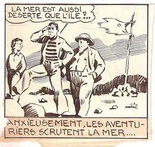 """Dessin original de Antoni CLAVÉ (1913-2005) pour la BD """"Bob et Fernand"""" 1942"""