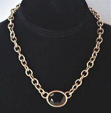Vintage Yves Saint Laurent Choker Necklace ~ Chain w/Center Faceted Glass Stone