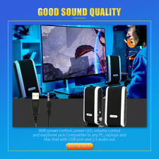For Pc Laptop Computer Mac Usa Wired Usb Power Speakers Stereo 3.5mm Audio Jack