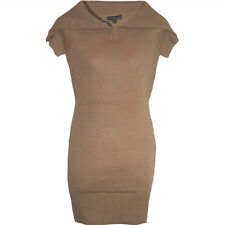 toller long Pullover Strickkleid Gr.32/34 mit XXL-Kragen Tunika Kleid Taupe