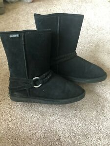 Bearpaw Adele - Women's Black Suede and Wool Boots with Buckle, Size 9
