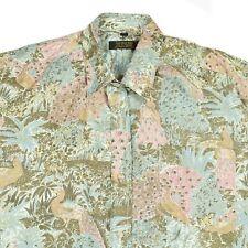 Vintage 100% Thai Silk Shirt | Men's XL | Retro Aloha Graphic Pattern Hawaiian