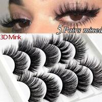 5 Pairs 3D Mink Hair False Eyelashes Wispy Cross Long Lashes Makeup Soft Hair