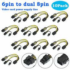 10 Pcs PCIE 6 pin Female to Dual PCI-E 8 pin (6+2) Male GPU Power Cable Splitter
