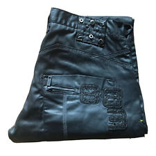 Police 883 Black Waxed Shiny Biker Jeans Straight W34 L32 Tag (W36 L32 measured)