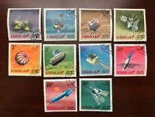 UAE Ajman 1968 MI #257-266 Space Research Satellites Rocket Set of 10 CTO VFNH