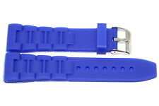 24MM BRIGHT BLUE RUBBER SILICONE COMPOSITE LINK WATCH BAND FITS NIXON