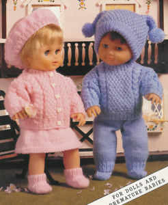 """Knitting Pattern DK Baby Dolls Clothes  12 - 22"""" Boy & Girl Doll Cable Outfits"""