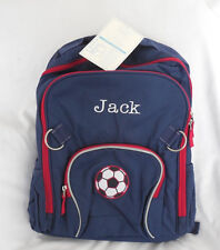 "Pottery Barn Kids Fairfax Solid Navy Backpack Large ""Jack"" Soccor Ball NWT"