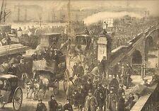 London Bridge, Horse, Buggy, Wagon, Pedestrian, Busy Traffic, 1872 Antique Print