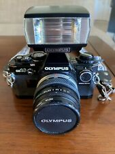 Olympus OM-10 35mm SLR Film Camera with 50 mm lens Kit and Flash