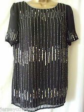 NEW £50 ***SALE*** SAVOIR ART DECO SEQUIN & BEAD SILVER & BLACK TOP - SIZE 10