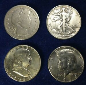 FOUR DIFFERENT  (4) U. S.  Silver Half Dollars,   Free Shipping in UK, No VAT!