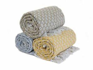 100% Cotton Woven Diamond Geometric Scandi Sofa / Bed Throw in 4 colours 3 Sizes
