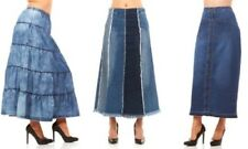 Women's Denim Ankle Length Maxi Skirt Blue Modest Zip Distressed Medium