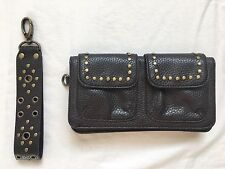 Ann Taylor Loft Small Brown Leather Clutch Wallet with Brass Grommets and Strap