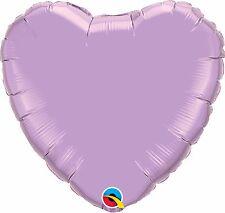 """Pearl Lavender Plain Heart Foil Balloon 18"""" Qualatex Party"""