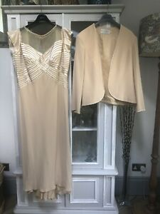 Montage Mon Cheri UK 18 Long Dress & Jacket Wedding outfit Gold Beaded