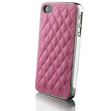 Cover Custodia per iPhone 4S/4 Cromo & Pelle intrecciato Rosa+ film incluso