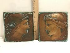 Copper Tiles in Very Nice Frames Signed Mignon and Marguerite dated 1883 w/frame