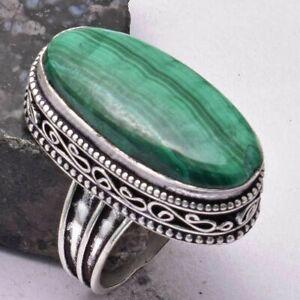 Malachite Ethnic Handmade Antique Design Ring Jewelry US Size-7.5 AR 38118