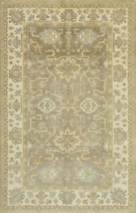 Oushak Rug, 5'x8', Brown/Ivory, Hand-Knotted Wool Pile