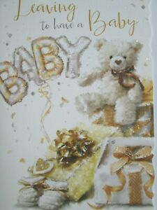 Luxury - Leaving To Have A Baby Card - Teddy, Booties And Glitter