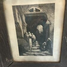 Original 1879 Etching Stephen Ferris Devil's Way, Algiers in Original Frame