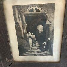Original 1879 Etching Stephen Ferris Devil's Way, Algiers in Original Frame