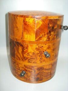 HANDMADE THUYA WOOD JEWELLERY BOX /TRINKETS CIRCULAR from Morroco FAIRTRADE