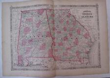 Hand Colored Map Johnson's Atlas Alabama Georgia Montgomery Atlanta South 1863