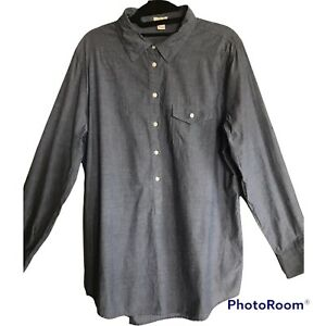 J.CREW Factory Women's Size Large Blue Chambray Long Roll Up Sleeves Shirt