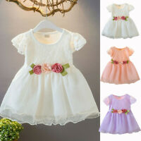 Toddler Baby Kids Dress Girls Ruched Lace Flower Princess Dresses Clothes
