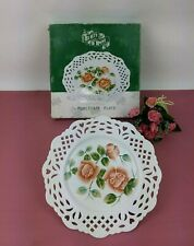 "Vintage Display Porcelain Plate Roses Reticulated Cutouts Collector 10"" Box"