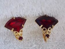 Vintage 1950's Ruby Red Glass Stone Clip On Earrings Set