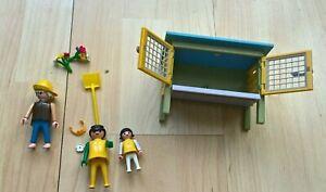 Schleich Rabbit Hutch  -  Three Playmobil figures