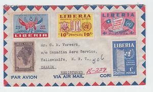Liberia  # 235 338-40 C70 Cover Tchien-Yellowknife via Toronto Edmonton UN Map