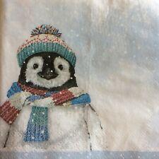 paper napkins decoupage x 2 Christmas penguin 21cm